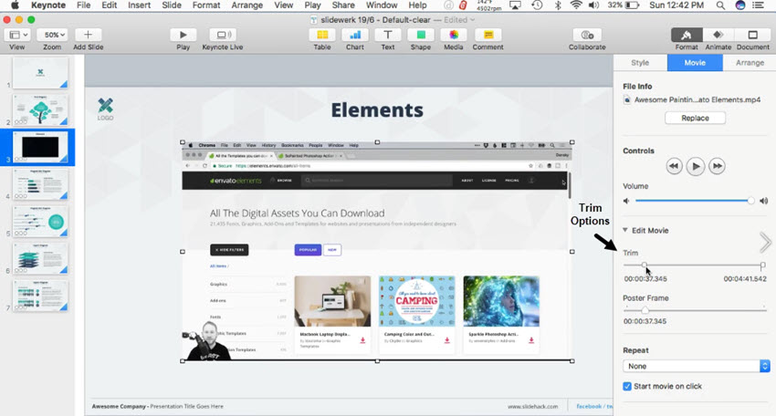 apple keynote insert youtube video
