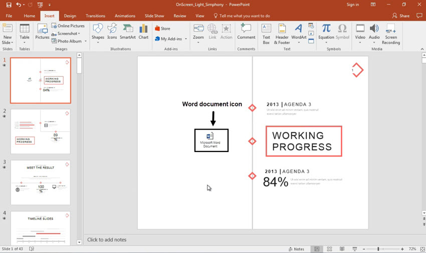 Word document file inside PowerPoint presentation