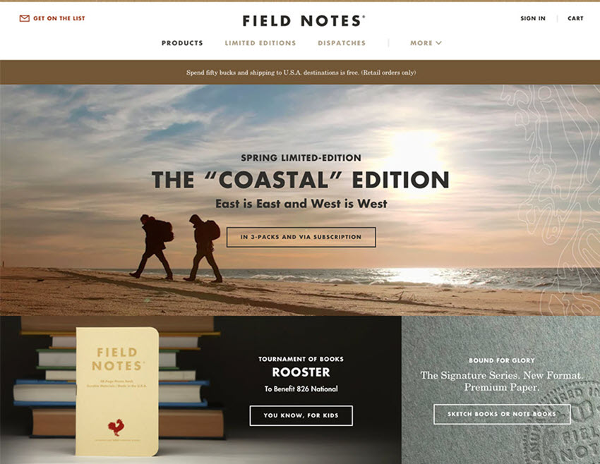 Field Notes web responsive design