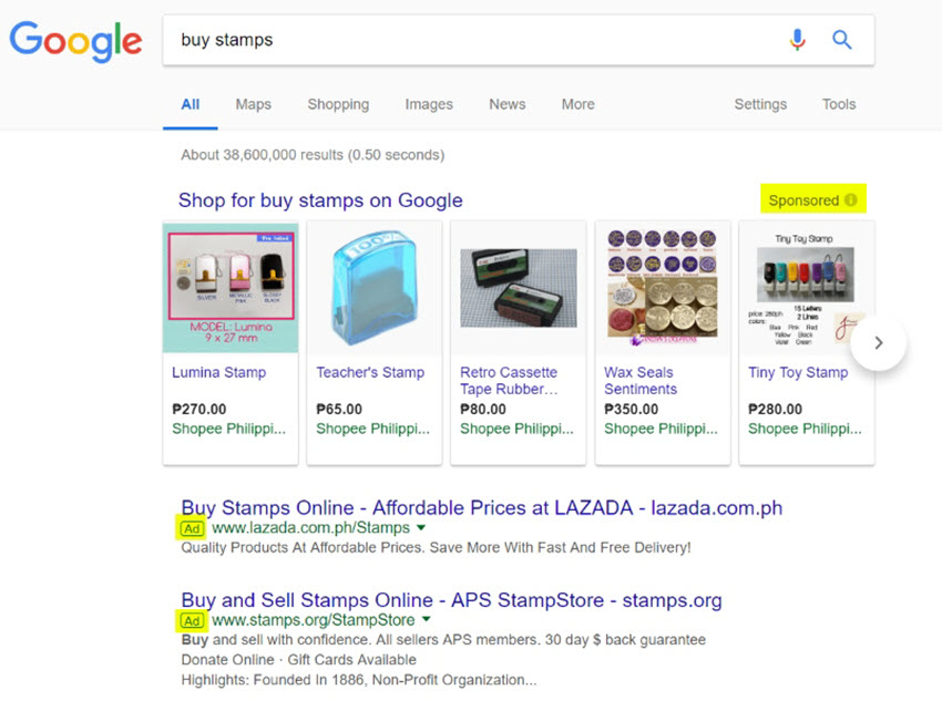 Examples of PPC ads