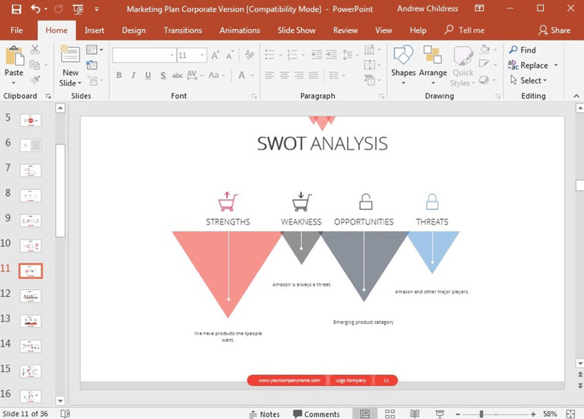 Swot Analysis PowerPoint Example