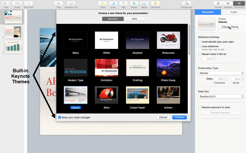 how to quickly change keynote custom themes in 60 seconds