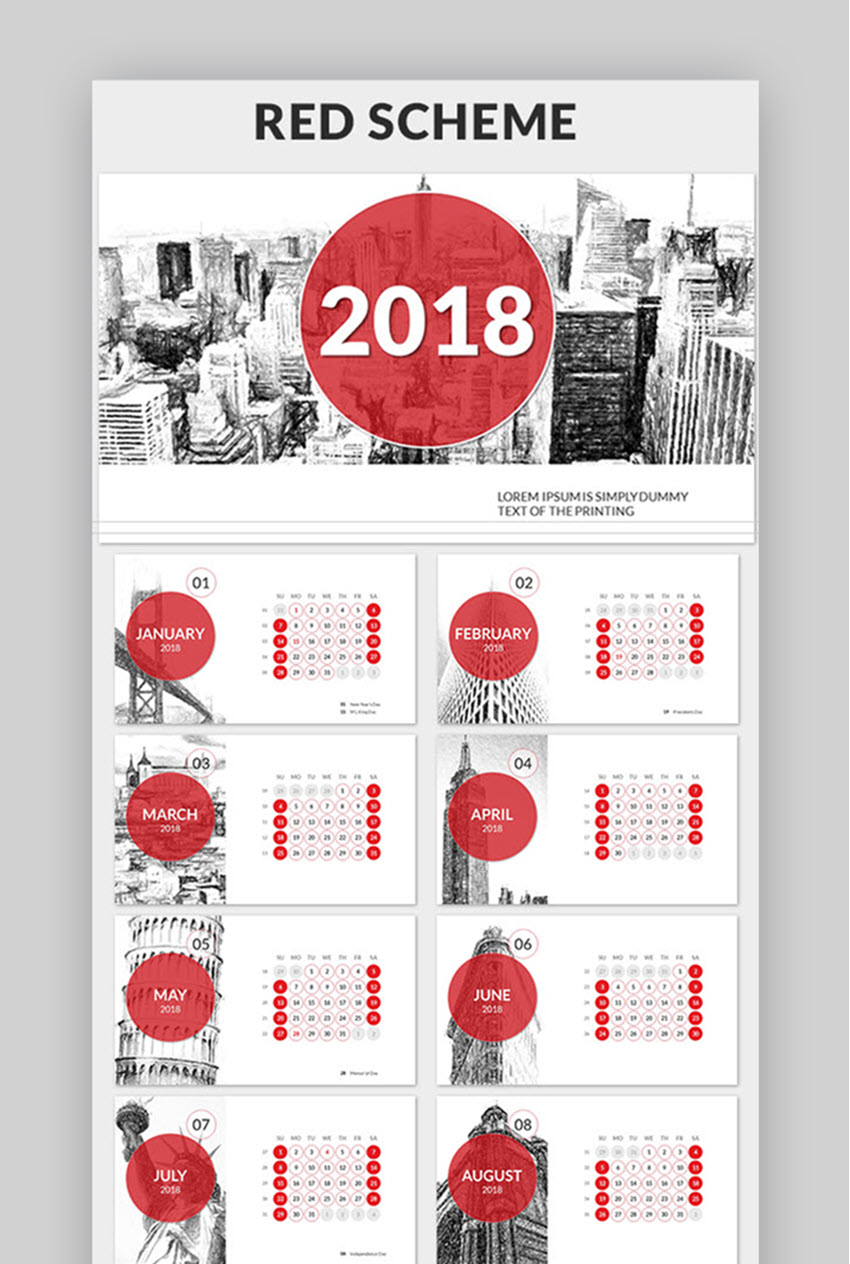 e377e10fddc33 18 Best PowerPoint Calendar Template PPT Designs for 2018