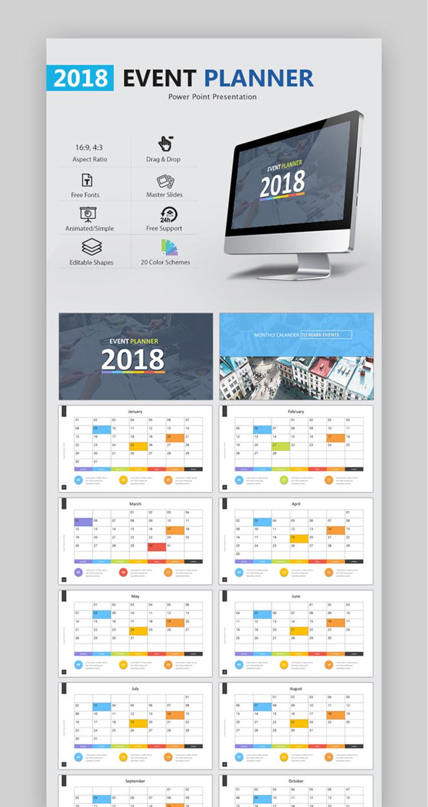 18 Mejores Plantillas de PowerPoint Calendario PPT Para 2018