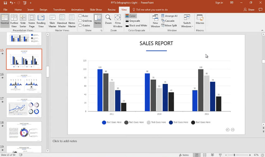 how to quickly edit creative chart template designs in powerpoint