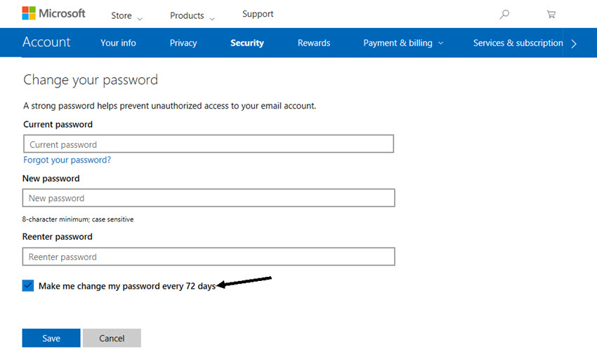 Microsoft Change your password screen