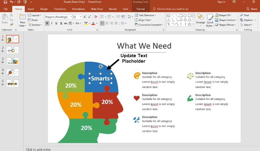 How To Edit A Brain Infographic Powerpoint Template In 60 Seconds