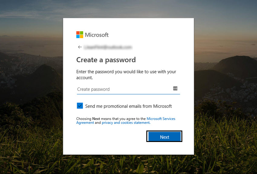 create a password for your outlook account