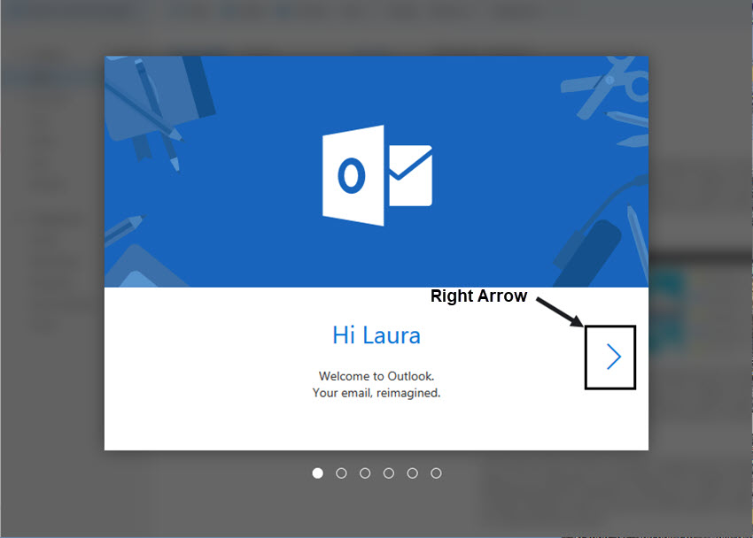 new outlook email welcome screen