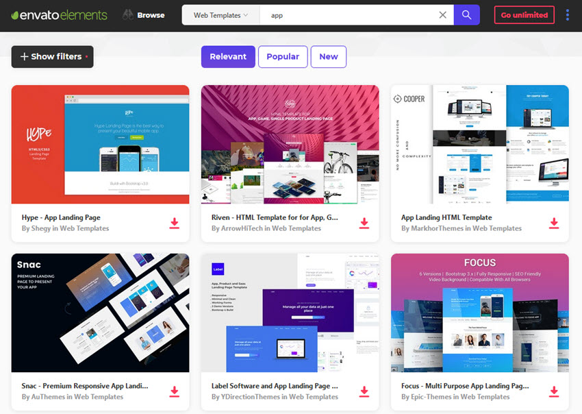 envato elements app landing page templates