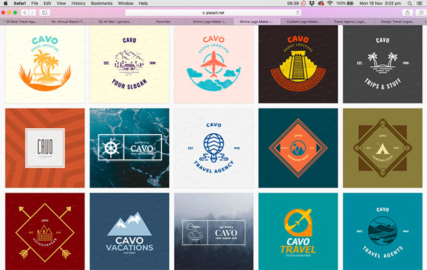 A Selection of Travel Logos at Placeit