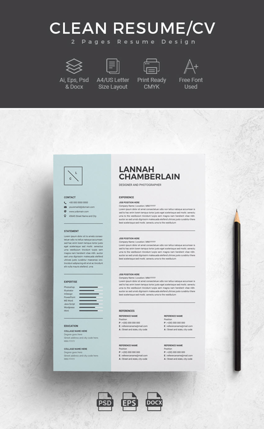 Clean Resume Template For Microsoft Word