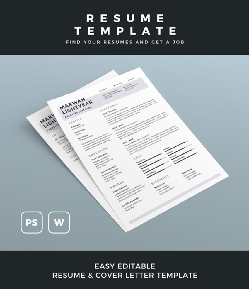 Easily Editable Resume Template For Microsoft Word