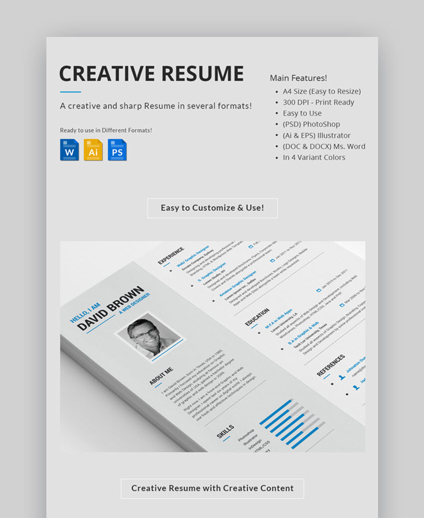Creative Resume Sharp Visual Resume Template