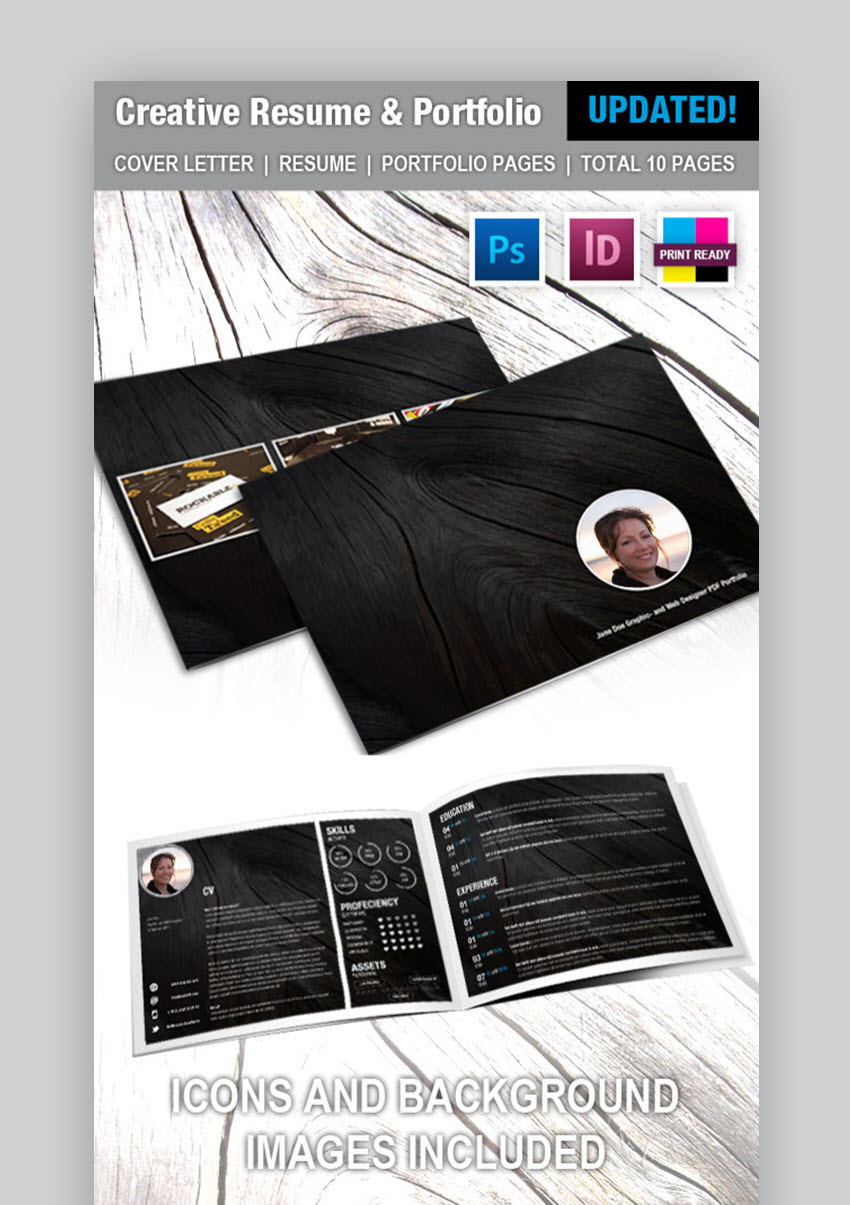 Creative Resume and Portfolio Booklet - Visual Resume CV Example