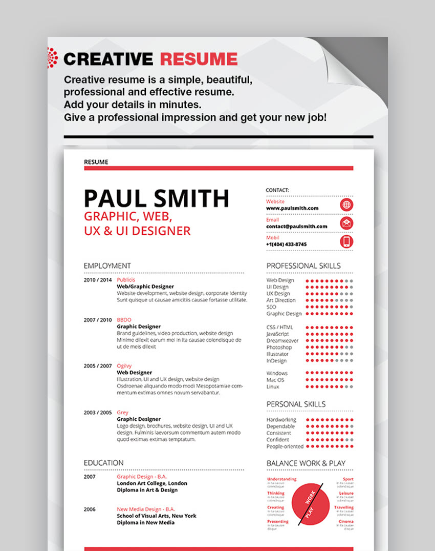 Beautiful Creative Resume - Cool Visual Resume Template