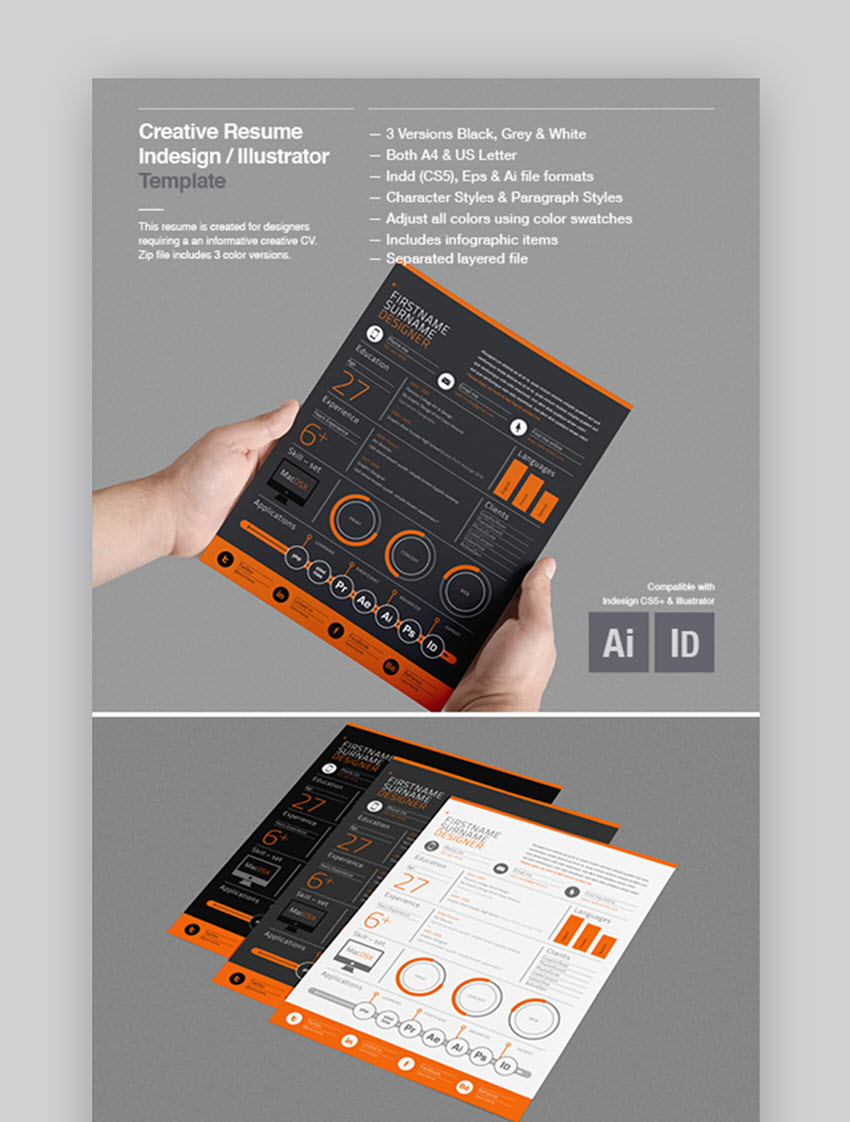 Creative Resume Template - Dark Artist Resume Template for Creatives