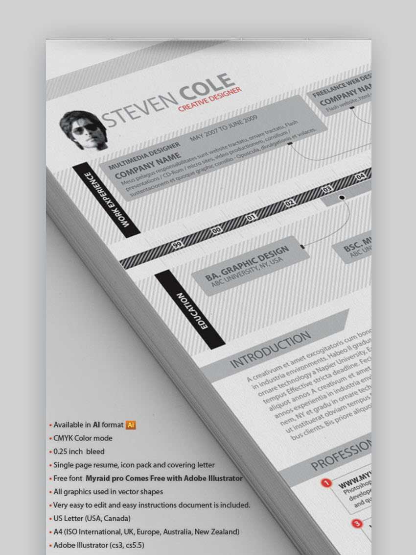 Creative Resume Advance - Modern Visual Resume with a Timeline
