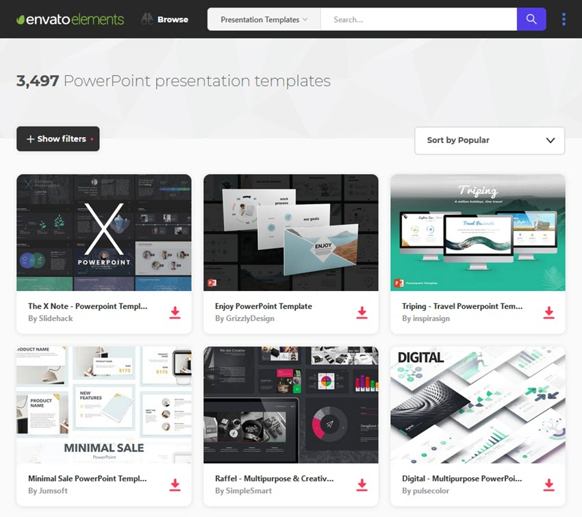 simple PowerPoint templates on Elements
