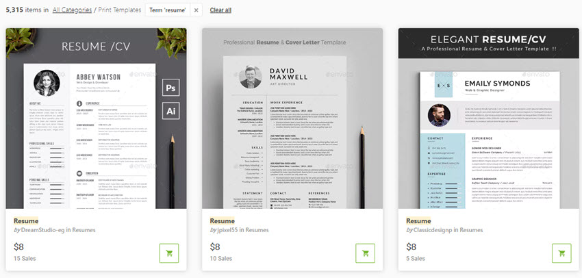Beautiful Resumes From GraphicRiver