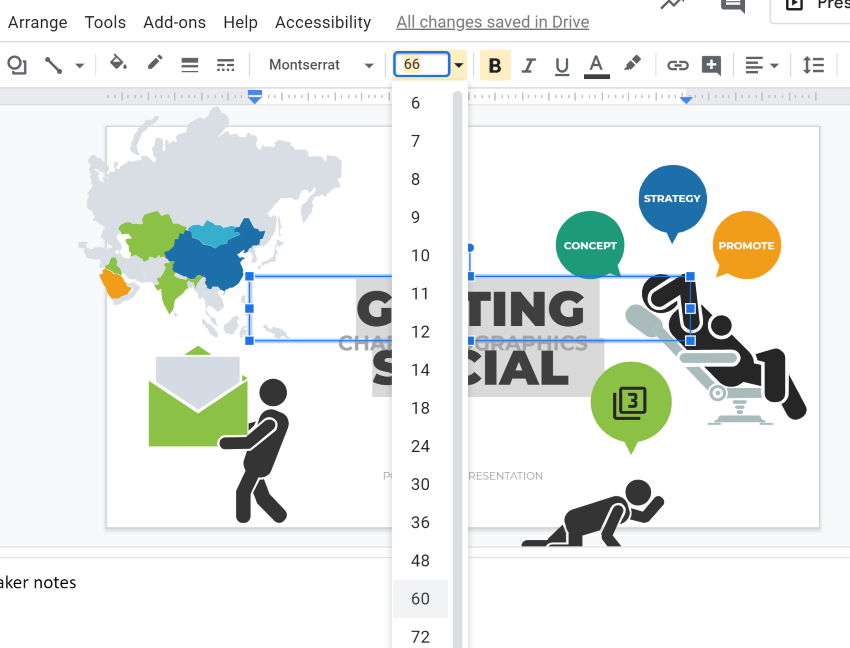 Resize Google Slides infographic text