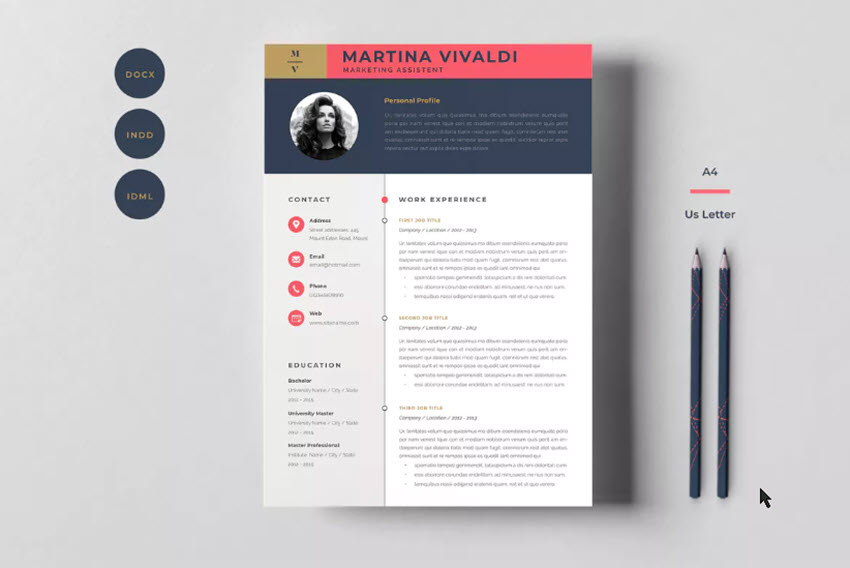 2223f821d6bf 20 Cool & Colorful Resume Templates (To Stand Out Creatively)