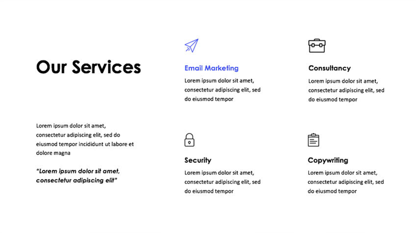 A simple slide using icons in order to improve the design