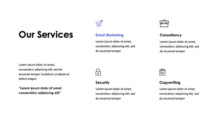 Простой слайд с использованием иконок для улучшения дизайна