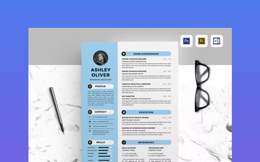Adobe Photoshop Resume Templates