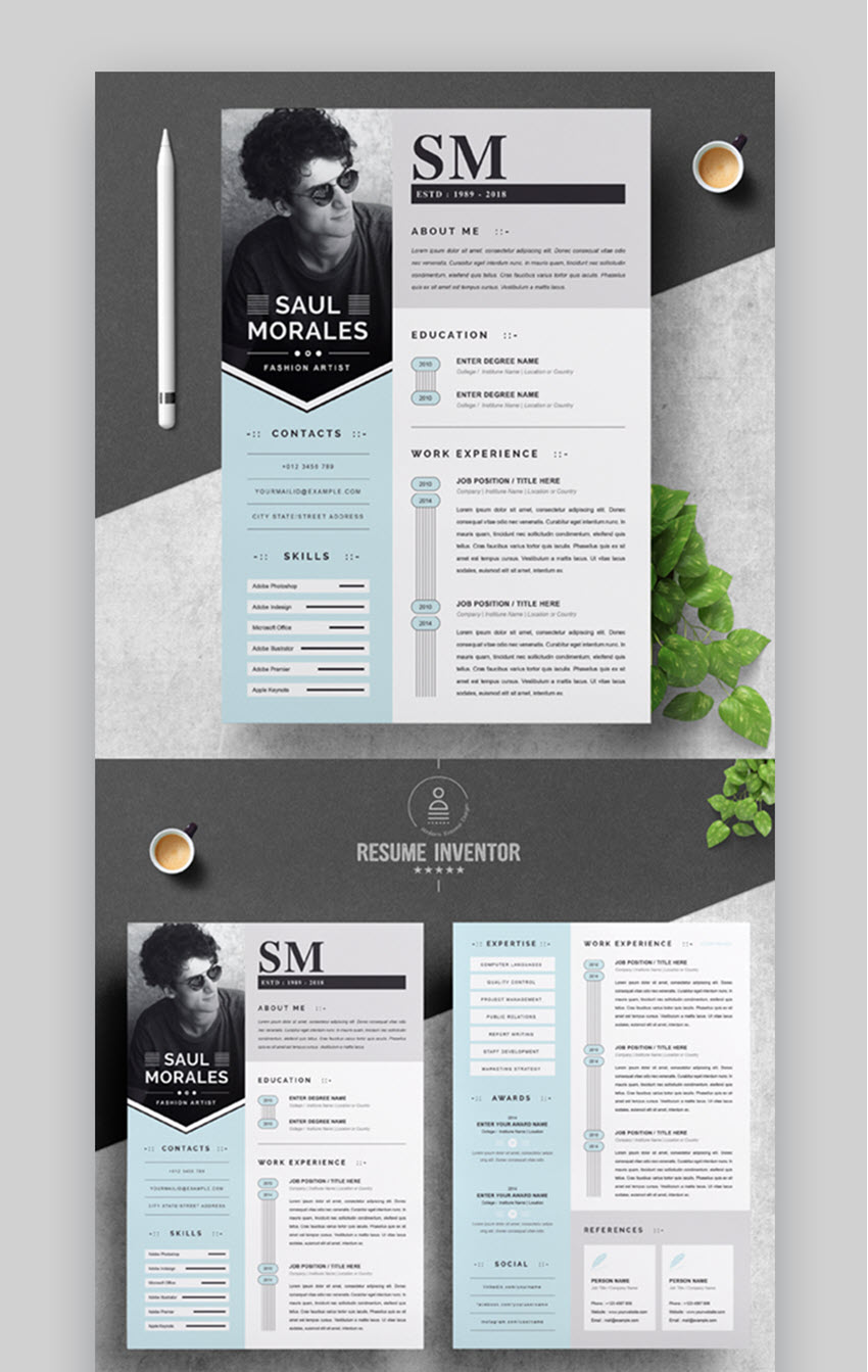 Best In 2020  35 Professional Resume Cv Design Templates