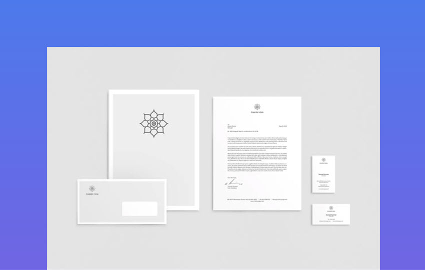 Yoga Stationery and corporate letterhead