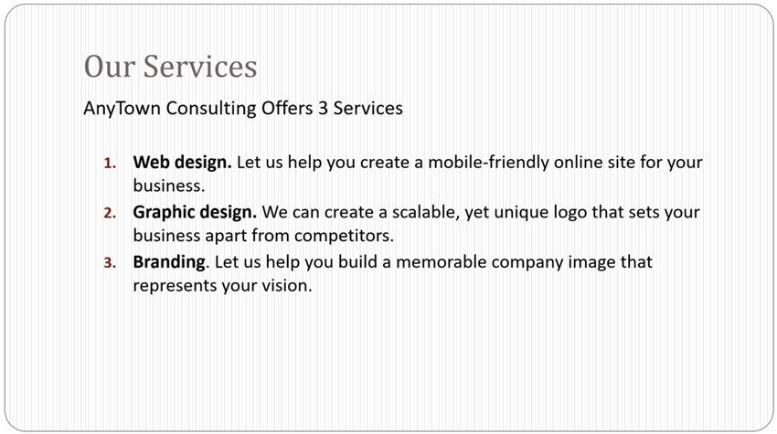 standard template for our service slide