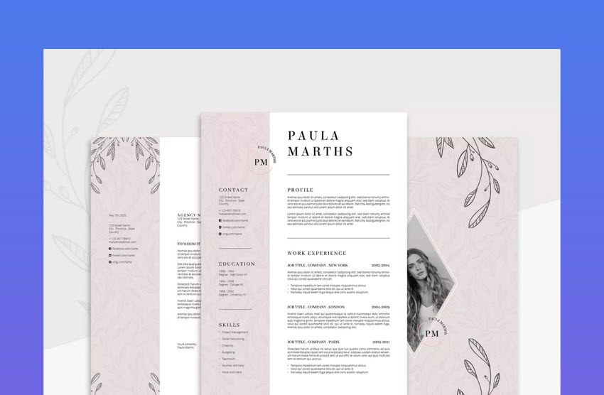 Floral Resume Template Illustrator