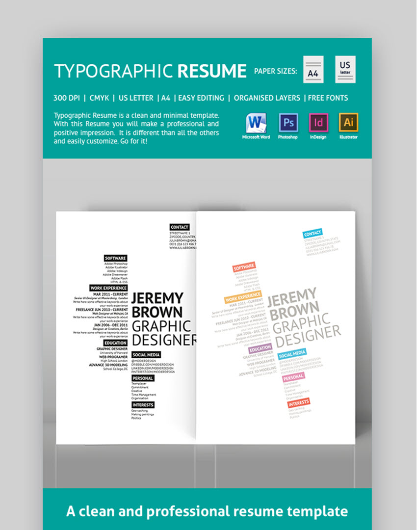 Typographic Job Resume