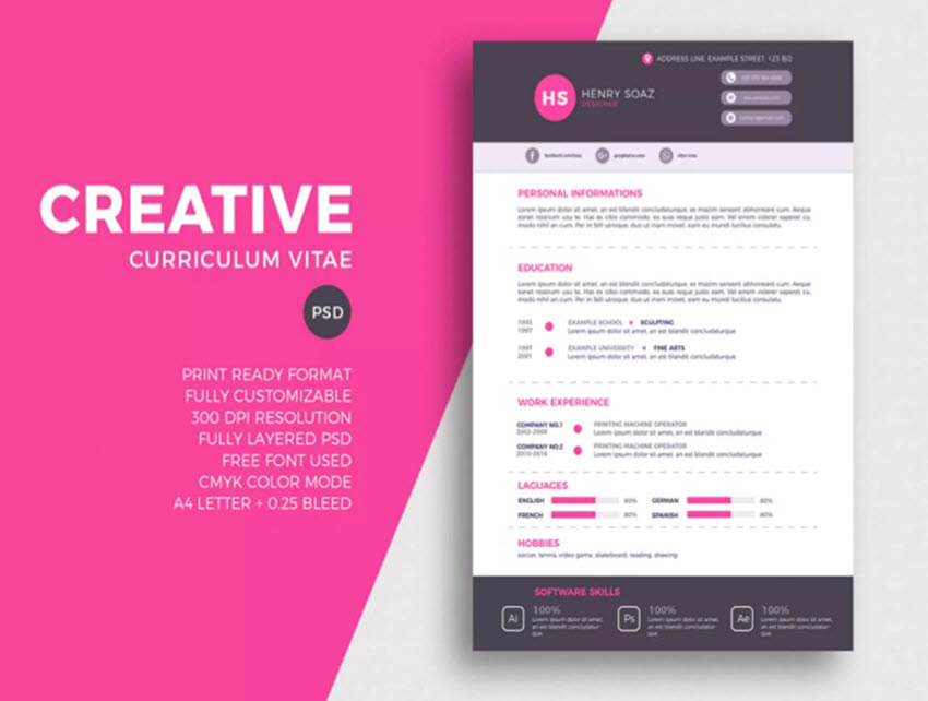 25 Awesome Illustrator Ai Resume Templates With Creative Cv