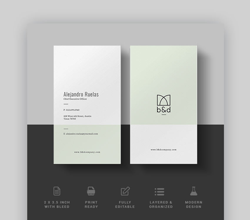 15+ Double-Sided, Vertical Business Card Templates (Word, or PSD