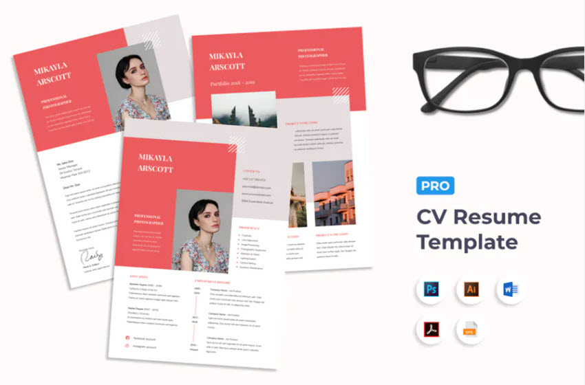 Colorful Actors Resume Template