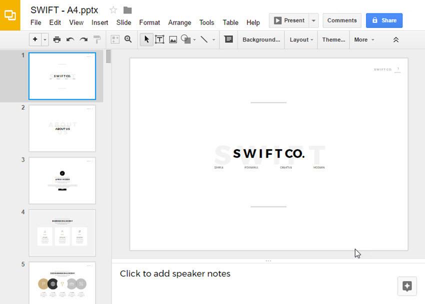 Change Google Theme - Open theme in Google Slides