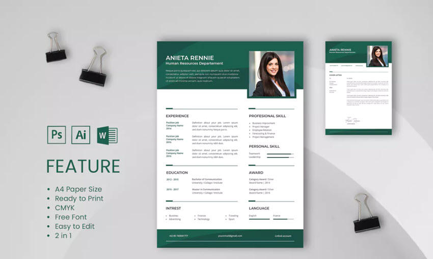 Professional CV and Resume Template Rennie