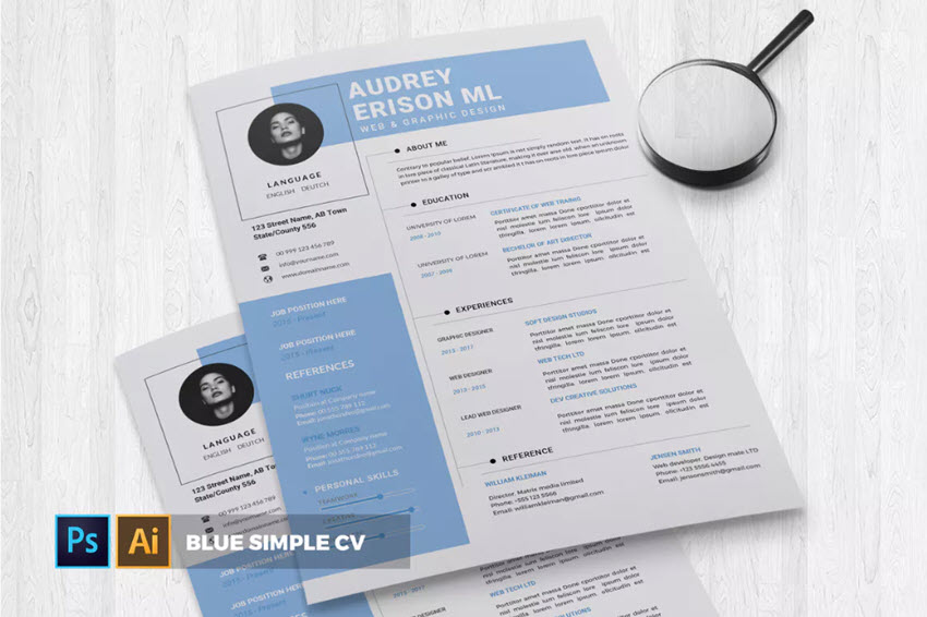 Blue Simple CV  Resume