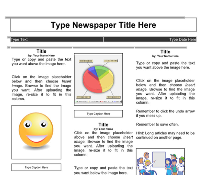 Elementary Student Newspaper Template Boxed Image