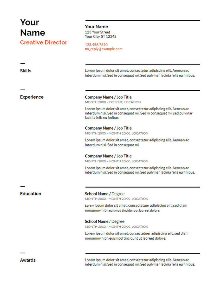 Free Swiss Resume Template