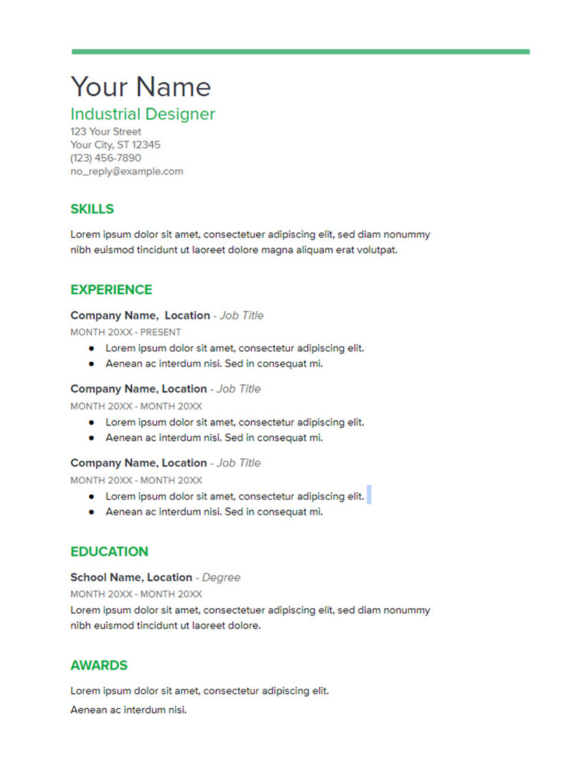 Spearmint Free Resume Template