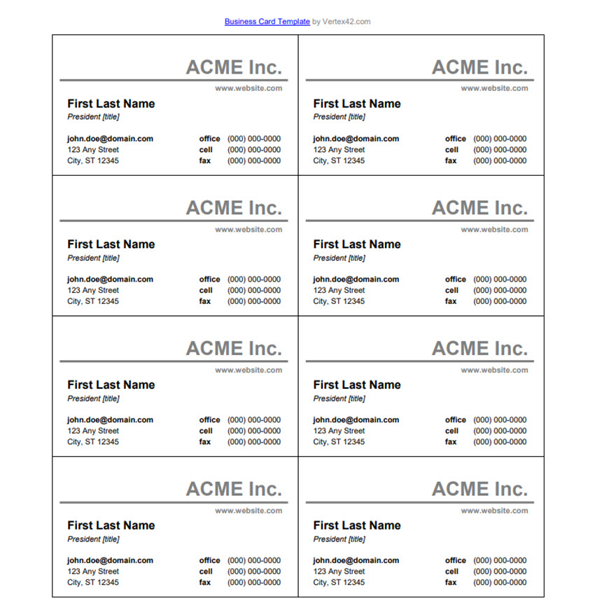 25+ Free Microsoft Word Business Card Templates (Printable