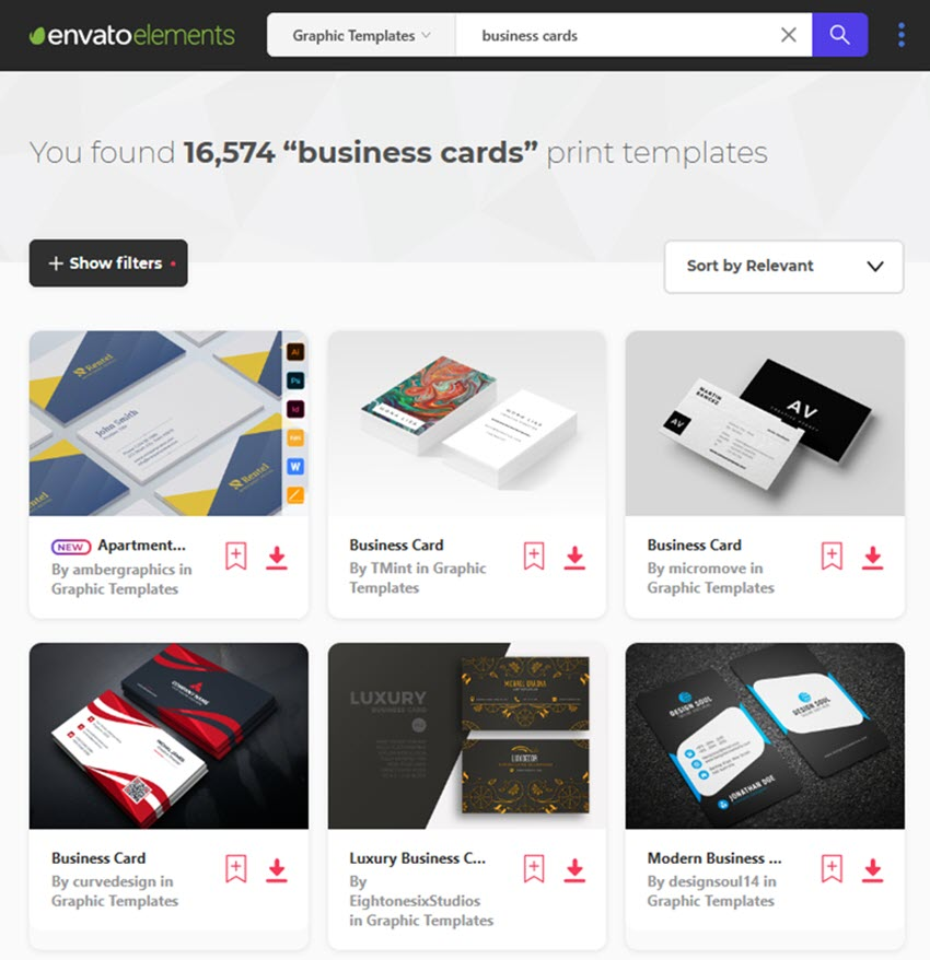 Customizable Business Cards on Envato Elements