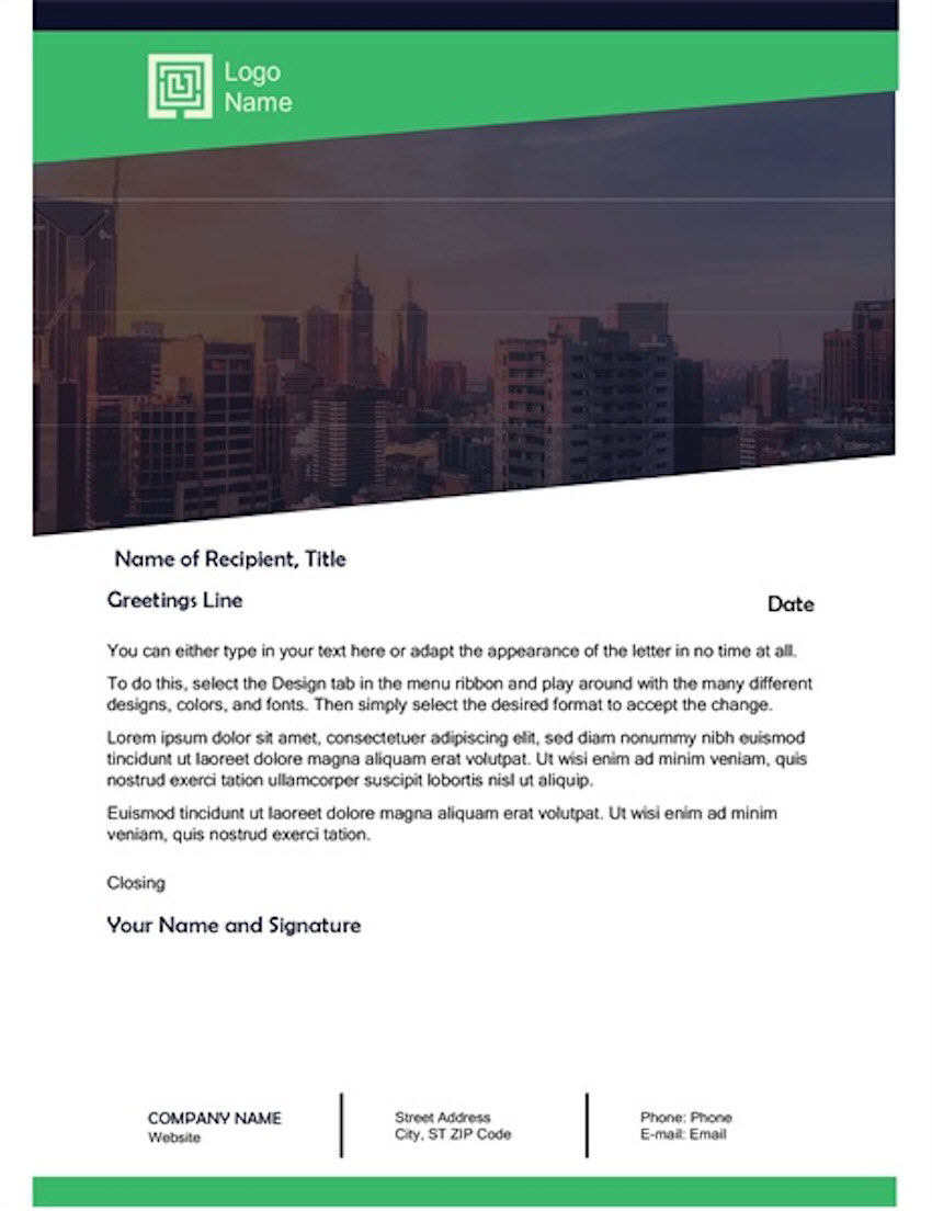 Free Business Letter Green Forest Design Template for Word