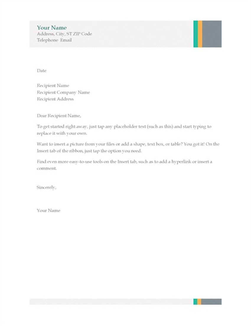 Free Business Letter Template for Word Sales Stripes Design
