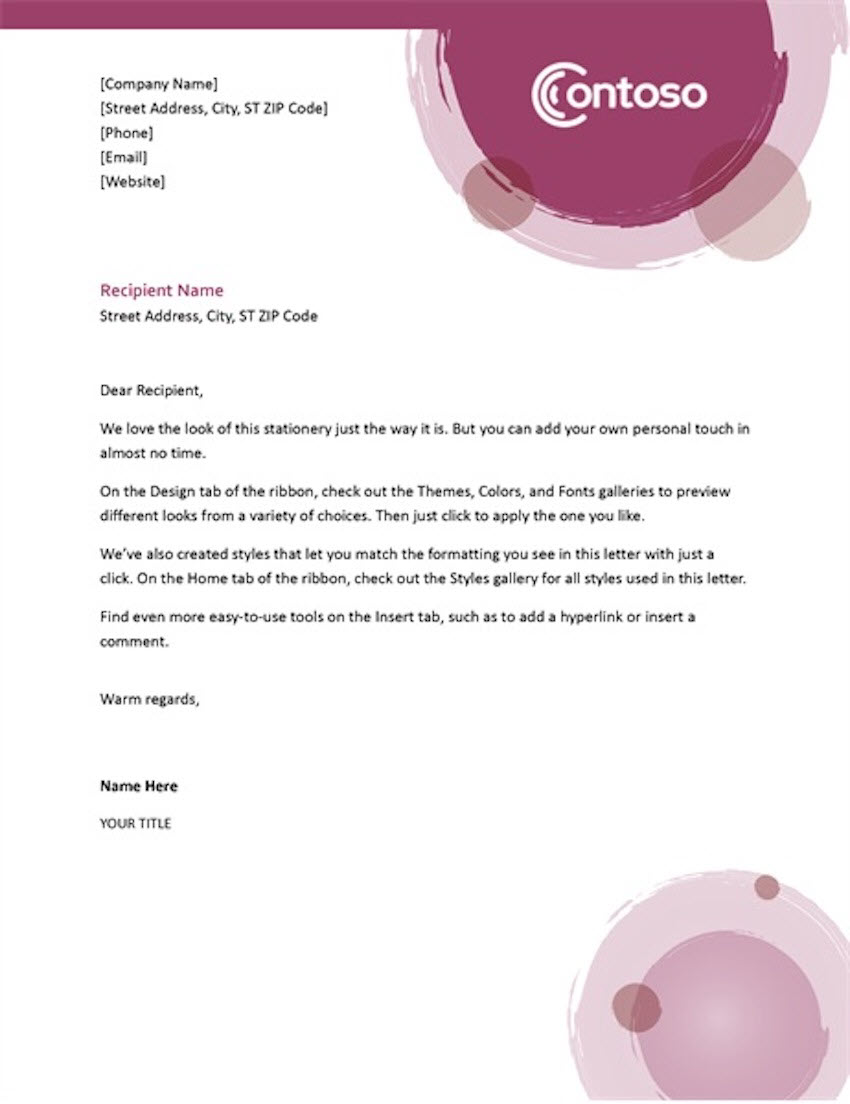 Rose Suite Letterhead - Free Template for Word
