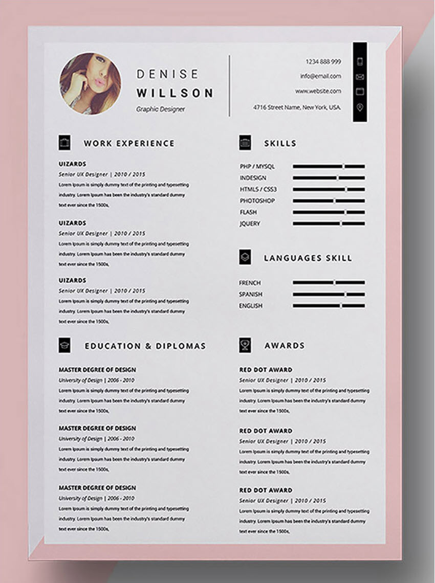 Denise CV  Resume Template