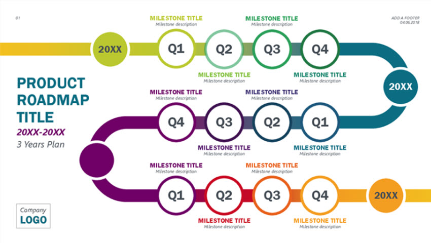 Colorful Product Roadmap Timeline Infographic Template Free Download PowerPoint
